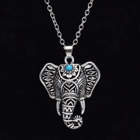 Boho Antique Elephant Head Pendant Necklace
