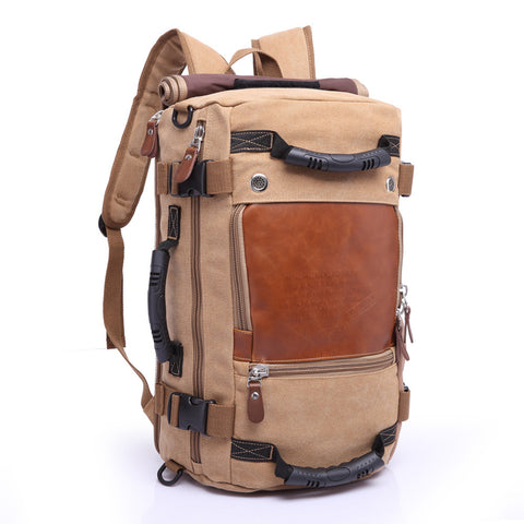 Nomad's Canvas Handmade Travel Backpack Large Capacity Khaki