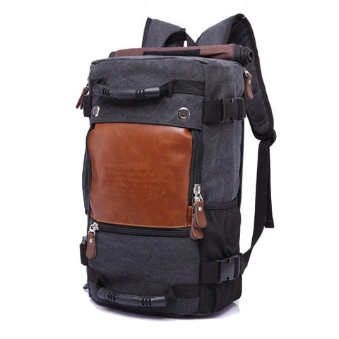 Nomad's Canvas Handmade Travel Backpack Large Capacity Black
