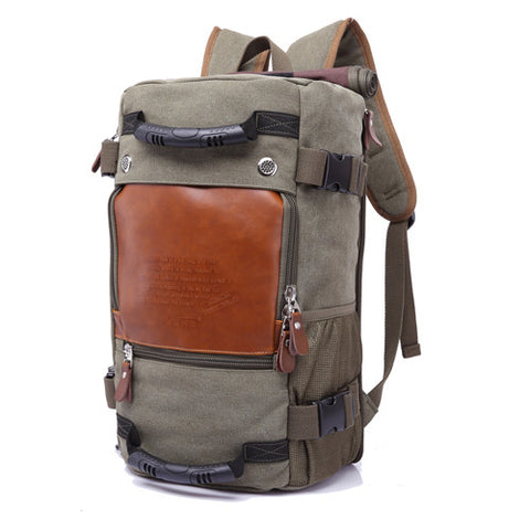 Nomad's Canvas Handmade Travel Backpack Large Capacity Army Green