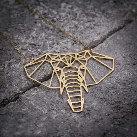 Origami Geometric Elephant Necklace