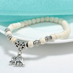 White Stone Bead Bracelet with Elephant Charm