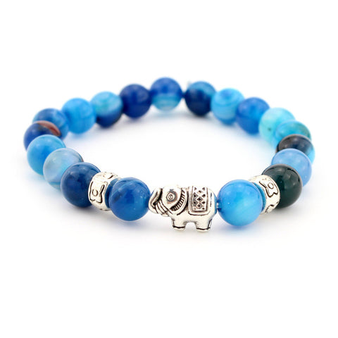 lava onyx bead bracelet in shades of blue