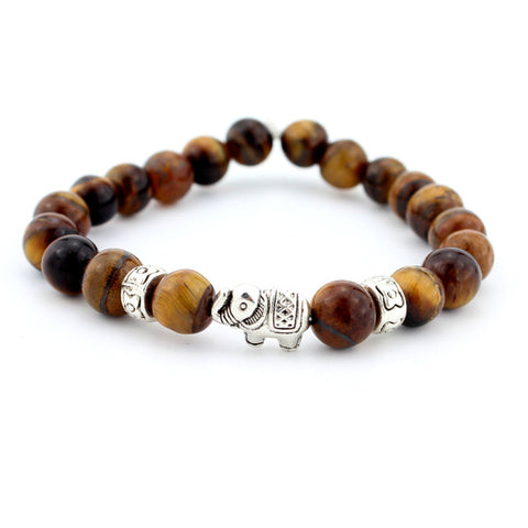 Shades of Brown Lava Stone Onyx Elephant Charm Bracelet
