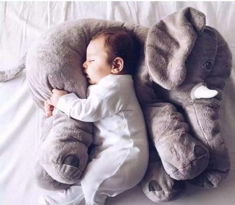 Image of Super Cuddly Elephant Plush Pillow Gray
