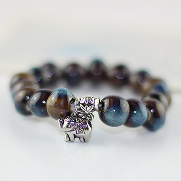 Ceramic Bead Silver Color Beaded Bracelets Elephant Bracelet