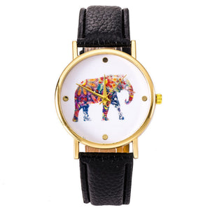 Black Elephant Leather Strap Wrist Watch