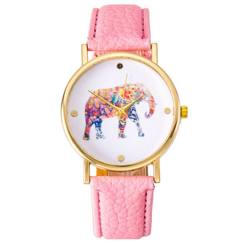 Light Pink Elephant Leather Strap Wrist Watch