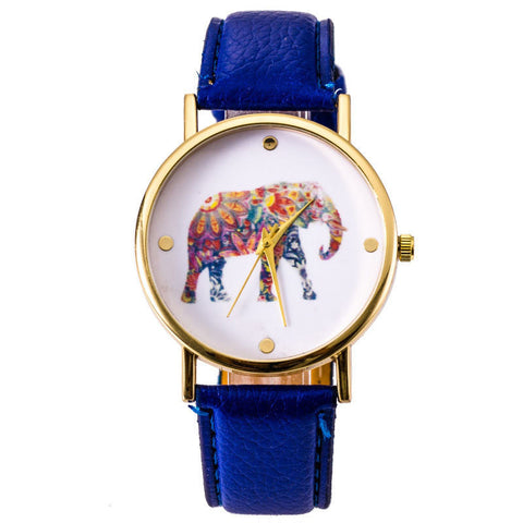 Bright Blue Elephant Leather Strap Wrist Watch
