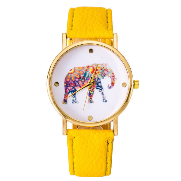 Vibrant Yellow Elephant Leather Strap Wrist Watch