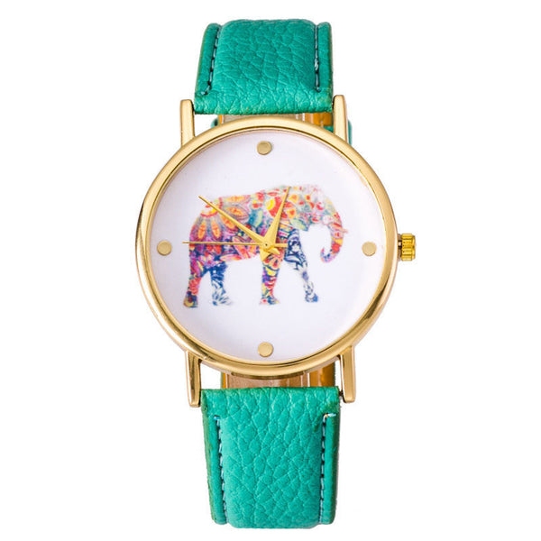 Sea Green Elephant Leather Strap Wrist Watch