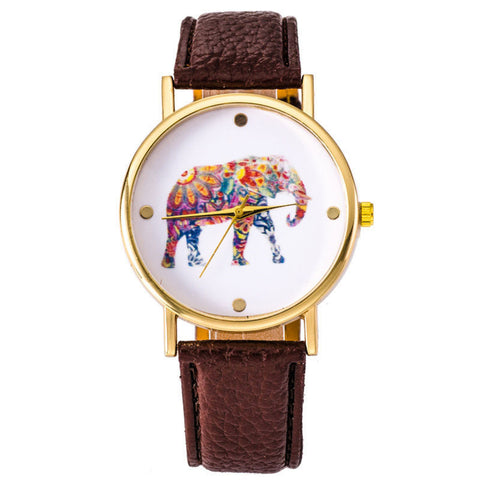 Brown Elephant Leather Strap Wrist Watch