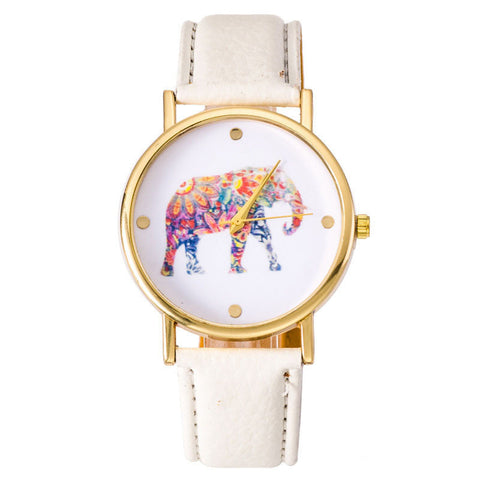 White Elephant Leather Strap Wrist Watch