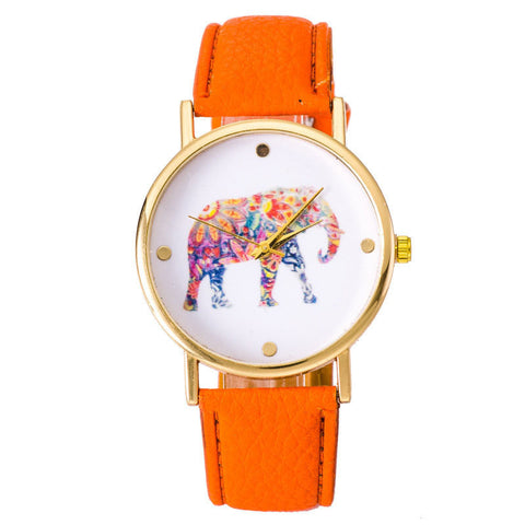 Elephant Leather Strap Wrist Watch