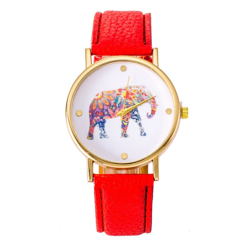 Image of Red Elephant Leather Strap Wrist Watch