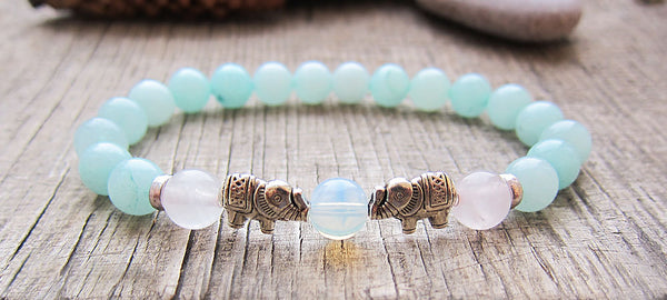 Royal Nature Stone Opal Pink Amazonite Elephant Bracelet