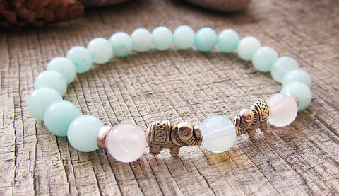 Image of elephant charm opal pink crystal amazonite ornate bracelet