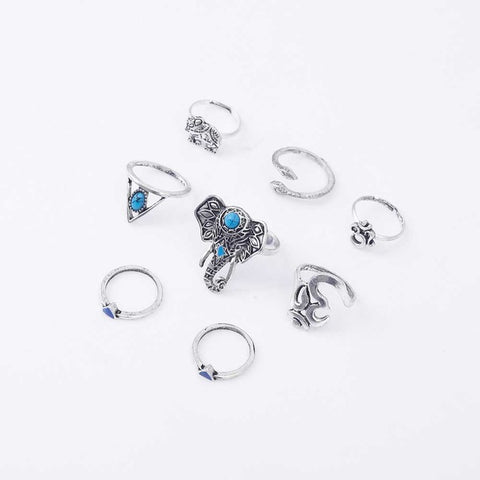 Retro Boho Elephant Ring Set of 8 - conversation starters - silver hand jewelry