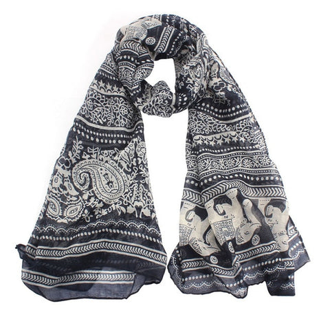 Boho Indian Elephant Long Scarf