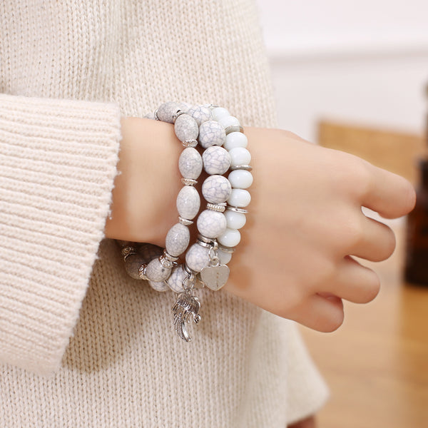 3pcs/set Bohemian Multilayer Mixed Glass Beads Elephant Bracelet