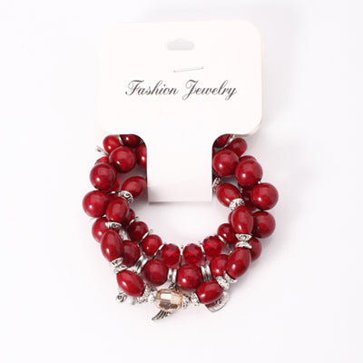 3-layered Red Bohemian Bracelet Elephant Mixed Glass Beads