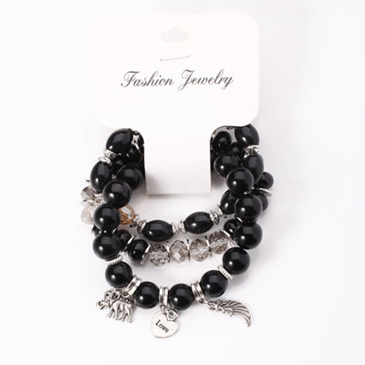 3-layered Black Bohemian Bracelet Elephant Mixed Glass Beads