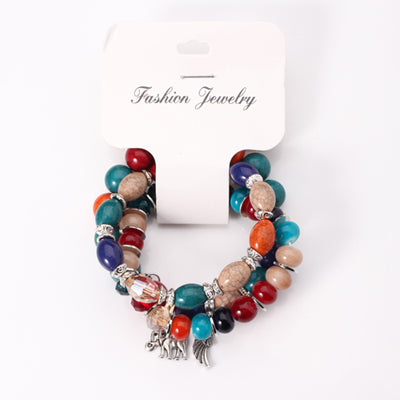 3-layered multi-color Bohemian Bracelet Elephant Mixed Glass Beads