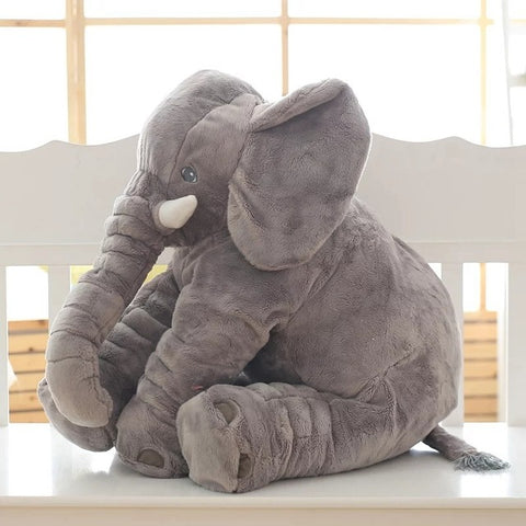 Super Cuddly Elephant Plush Pillow gray