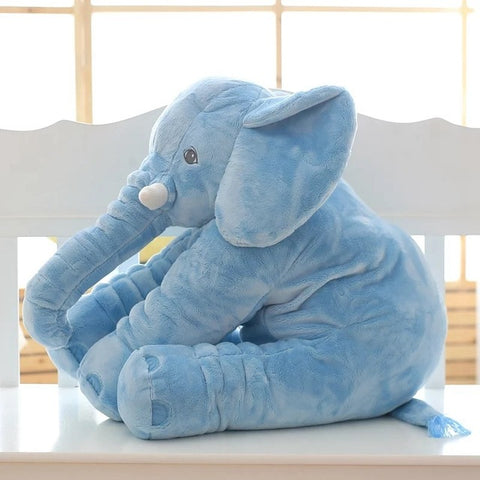 Image of Blue Super Cuddly Elephant Plush Pillow