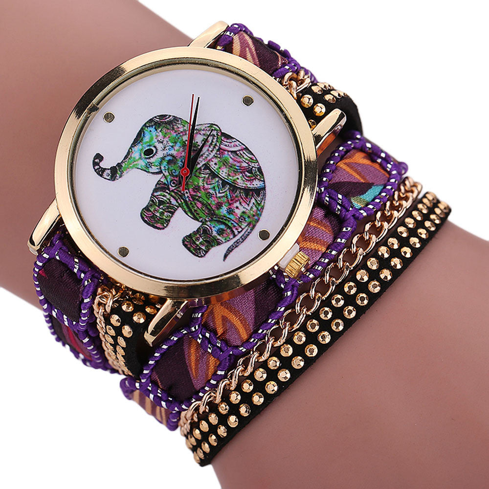 Elephant Wrist Watch in Rhinestone Ensemble