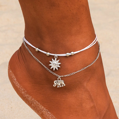 Elephant under the Sun Drop Pendant Anklet Bracelet
