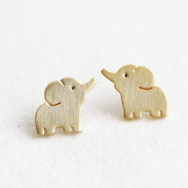 Golden Baby Elephant Stud Earrings