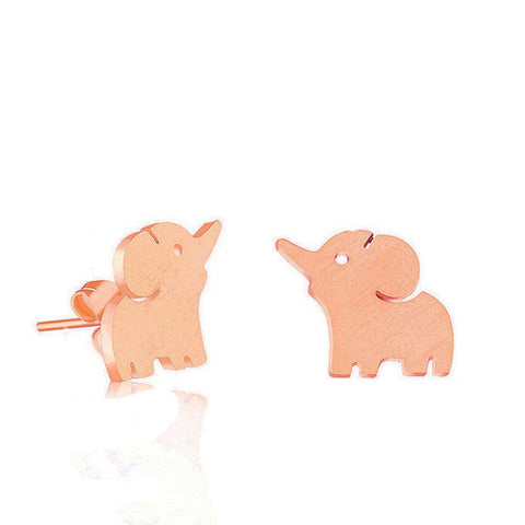 Image of Rose Gold Baby Elephant Stud Earrings