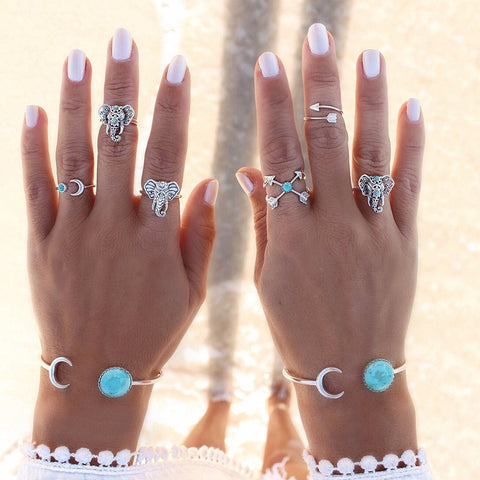 6-piece Vintage Bohemian Ring Set - Elephants with Blue Stone - silver hand jewelry