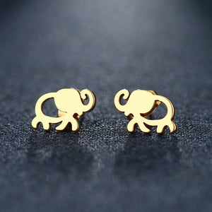 African Elephant Gold Stud Earrings