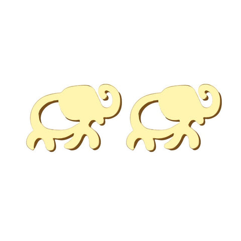 Image of African Elephant Gold Stud Earrings