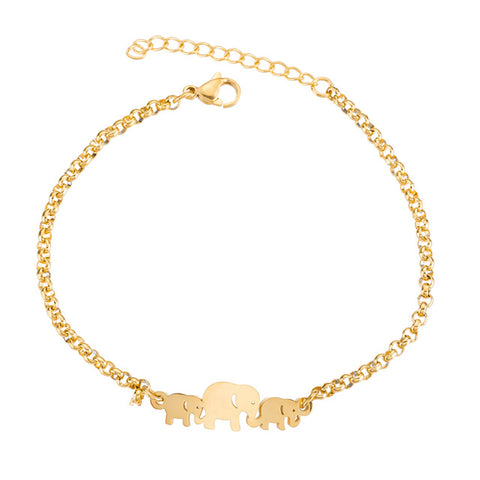 Elephant Family Chain Bracelet