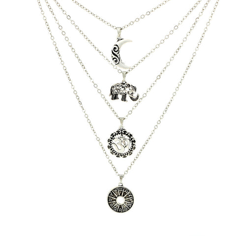 4-Layer Boho Style Elephant Moon Pendant Chain Necklace