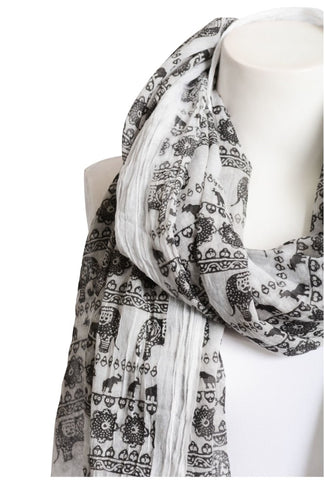 black and white elephant boho scarf lightweight