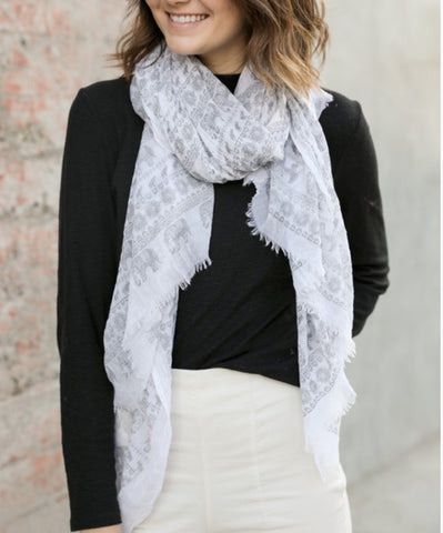 Viscose White Boho Scarf with Light Grey Elephant Print Pattern
