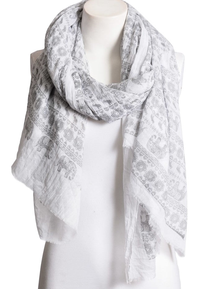 Soft White Viscose Scarf with Light Gray Elephant Pattern Design