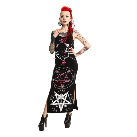 Black Cat Maxi Dress -Goth-rock-metal