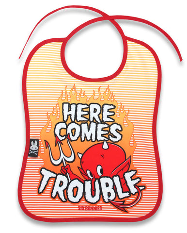Six Bunnies - Baby Bib - Trouble