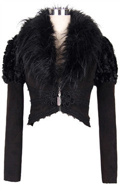 Gothic raven cropped jacket - goth
