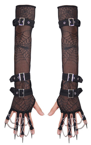 cothic xena gloves - lace buckle spiderweb chains