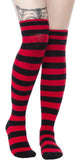 Sourpuss foldover socks red&black stripes -punk-rock-goth-rockabilly