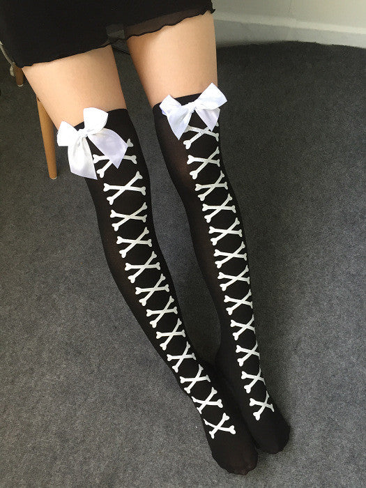 Crossbone tights with bows -goth-punk-metal