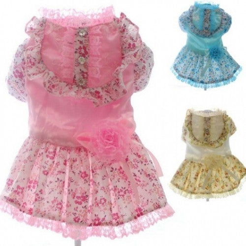 Princess Wedding Pet Dresses Flowers Design