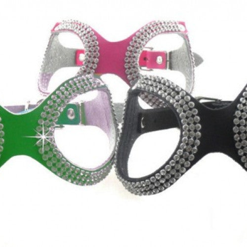 Leather Fashion Bling Rhinestone Pet Harness