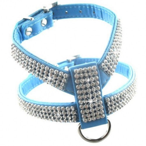 Bling Rhinestone Leather Safety Pet Collars